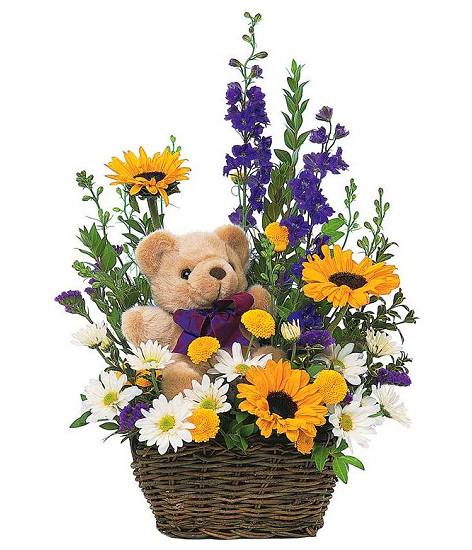 Bear and Flowers Basket
